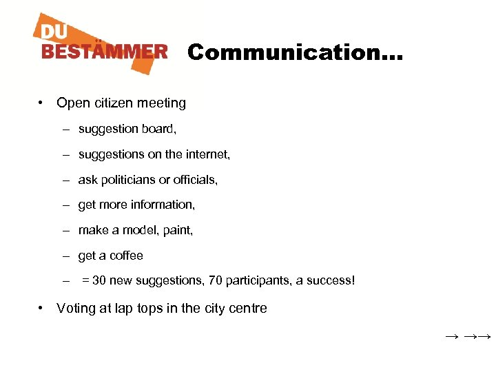 Communication… • Open citizen meeting – suggestion board, – suggestions on the internet, –