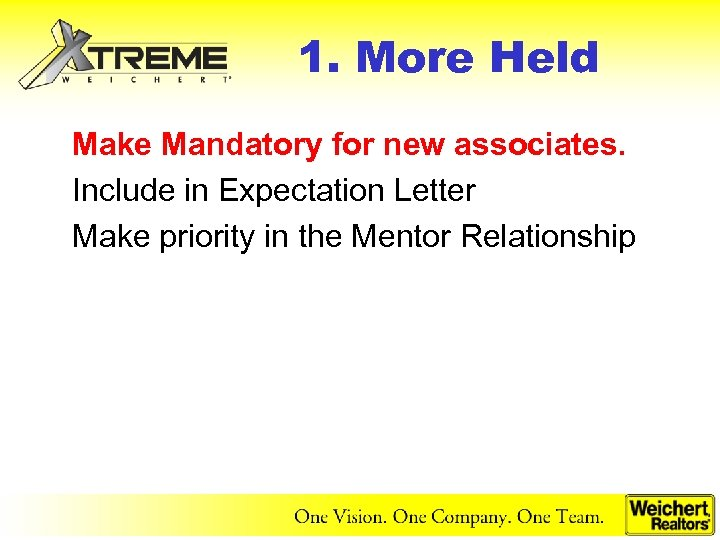 1. More Held Make Mandatory for new associates. Include in Expectation Letter Make priority