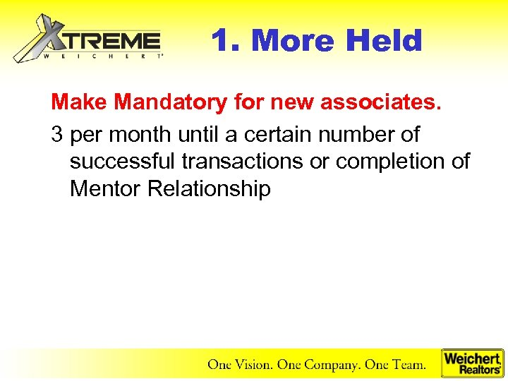 1. More Held Make Mandatory for new associates. 3 per month until a certain