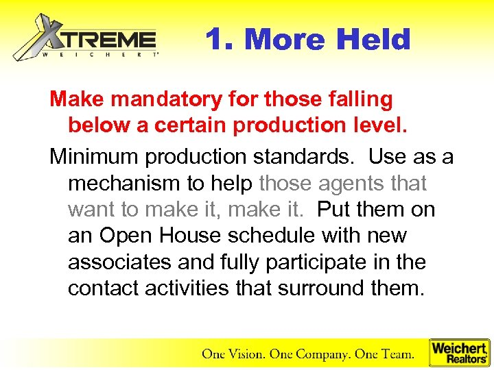 1. More Held Make mandatory for those falling below a certain production level. Minimum