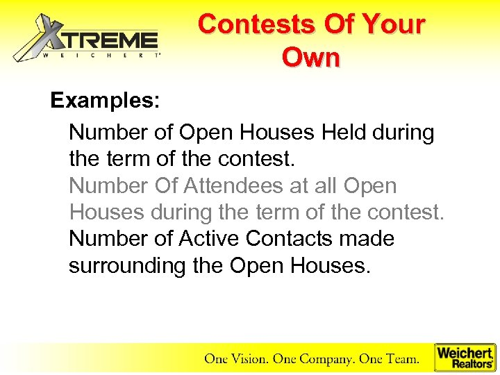 Contests Of Your Own Examples: Number of Open Houses Held during the term of