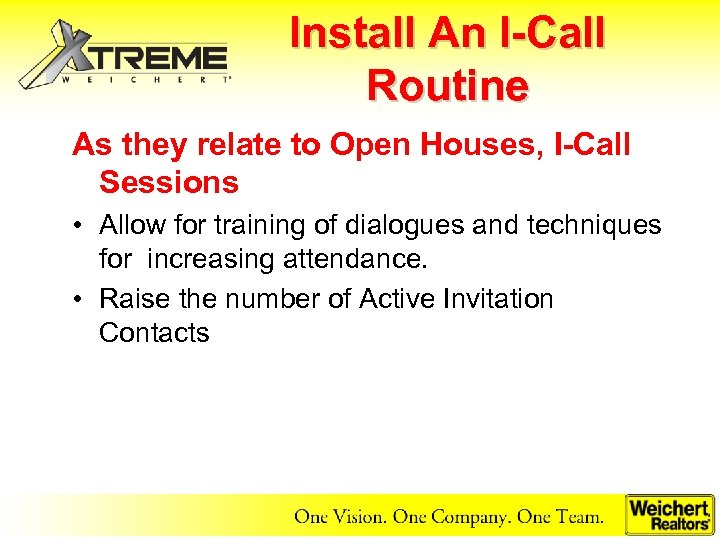 Install An I-Call Routine As they relate to Open Houses, I-Call Sessions • Allow
