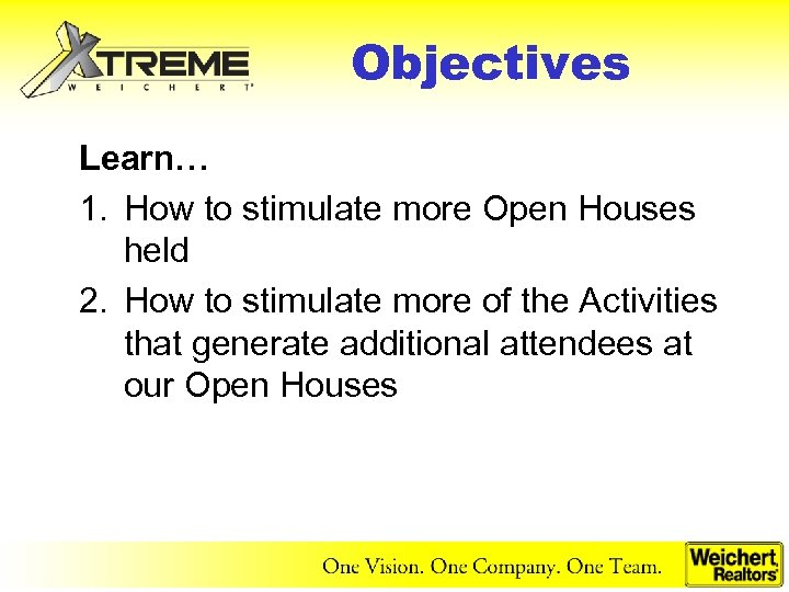 Objectives Learn… 1. How to stimulate more Open Houses held 2. How to stimulate