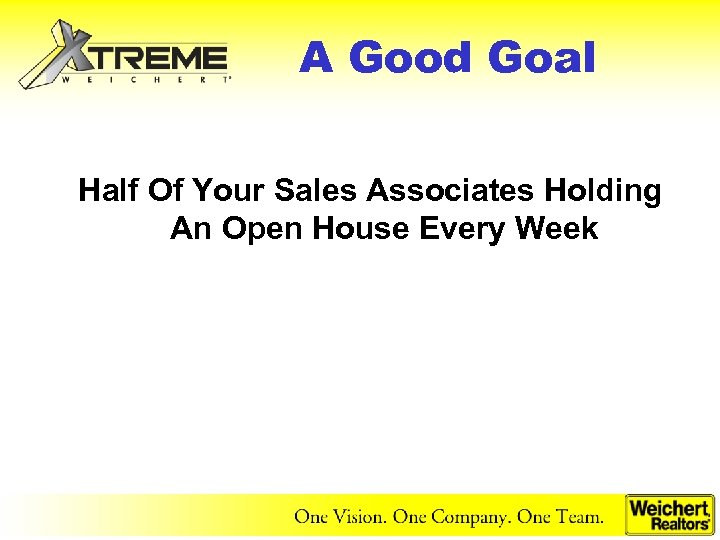 A Good Goal Half Of Your Sales Associates Holding An Open House Every Week