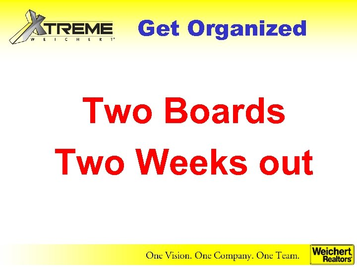 Get Organized Two Boards Two Weeks out