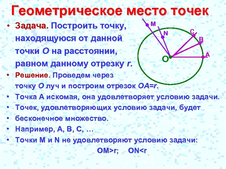 Геометрическое место точек • Задача. Построить точку, находящуюся от данной точки О на расстоянии,