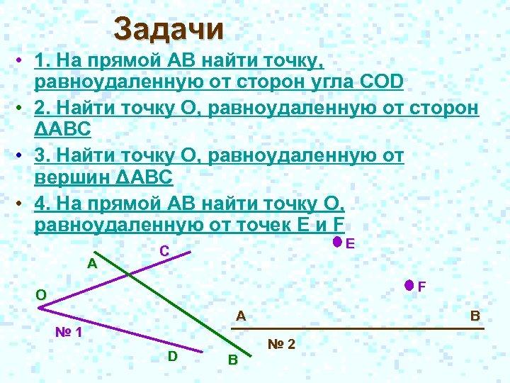 Задачи • 1. На прямой АВ найти точку, равноудаленную от сторон угла COD •