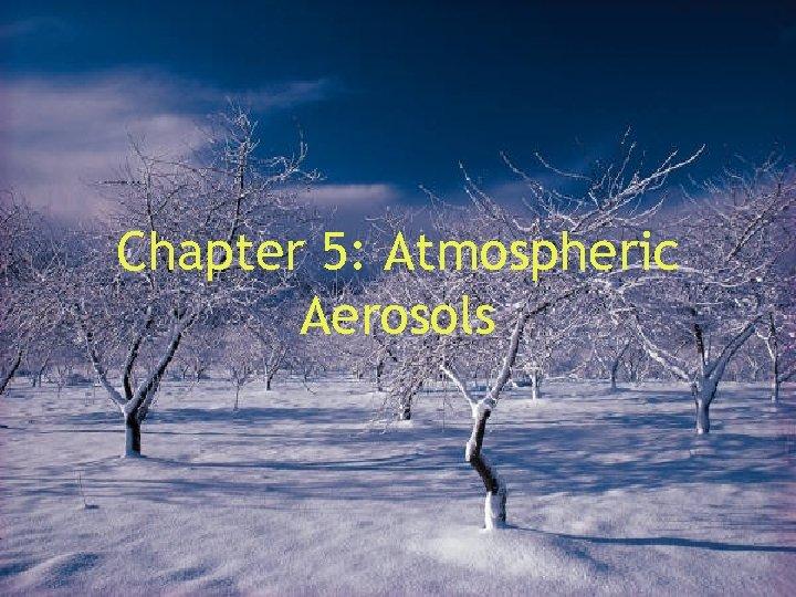 Chapter 5: Atmospheric Aerosols