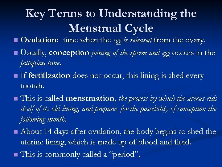 Key Terms to Understanding the Menstrual Cycle Ovulation: time when the egg is released