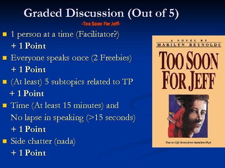 Graded Discussion (Out of 5) -Too Soon For Jeff- 1 person at a time