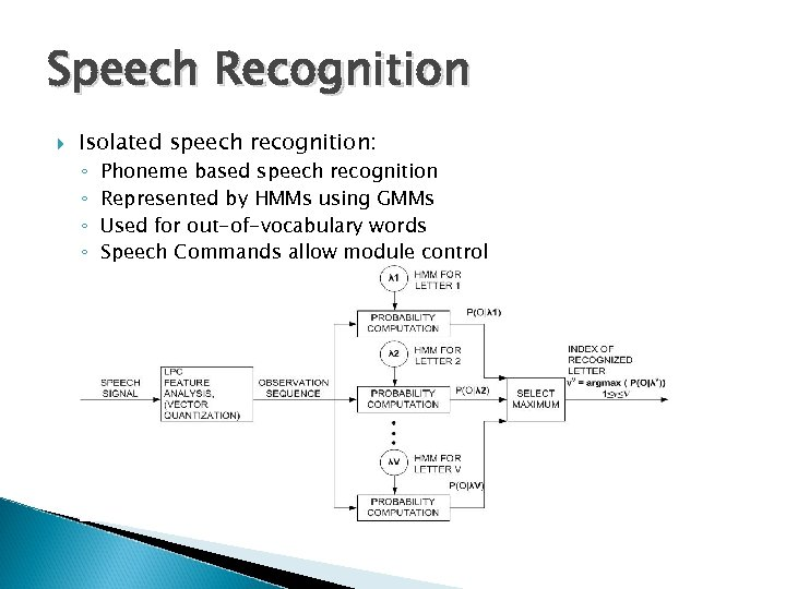 Speech Recognition Isolated speech recognition: ◦ ◦ Phoneme based speech recognition Represented by HMMs