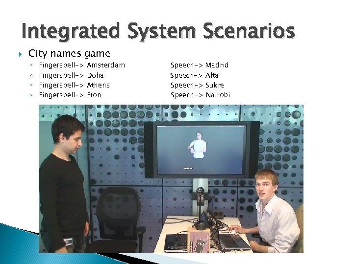 Integrated System Scenarios City names game ◦ ◦ Fingerspell-> Amsterdam Doha Athens Eton Speech->