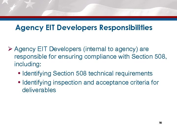 Agency EIT Developers Responsibilities Ø Agency EIT Developers (internal to agency) are responsible for