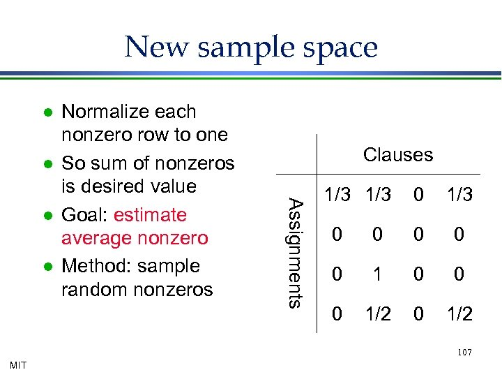New sample space l l l Clauses Assignments l Normalize each nonzero row to