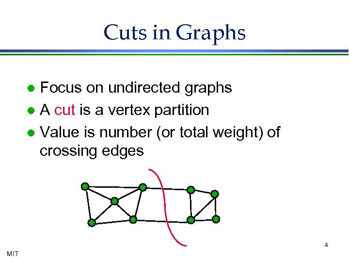 Cuts in Graphs Focus on undirected graphs l A cut is a vertex partition