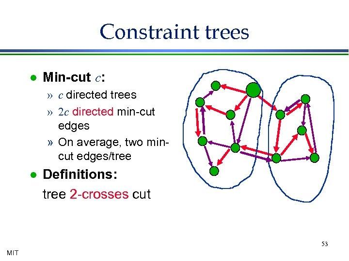 Constraint trees l Min-cut c: » c directed trees » 2 c directed min-cut