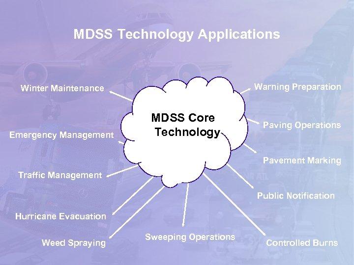 MDSS Technology Applications Warning Preparation Winter Maintenance Emergency Management MDSS Core Technology Paving Operations