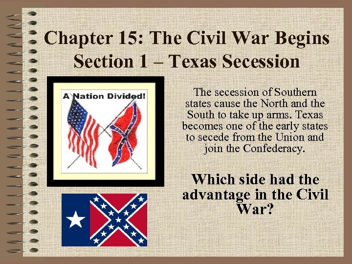 Chapter 15: The Civil War Begins Section 1 – Texas Secession The secession of
