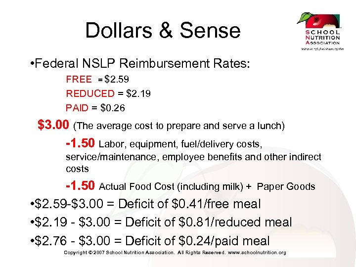 Dollars & Sense • Federal NSLP Reimbursement Rates: FREE = $2. 59 REDUCED =