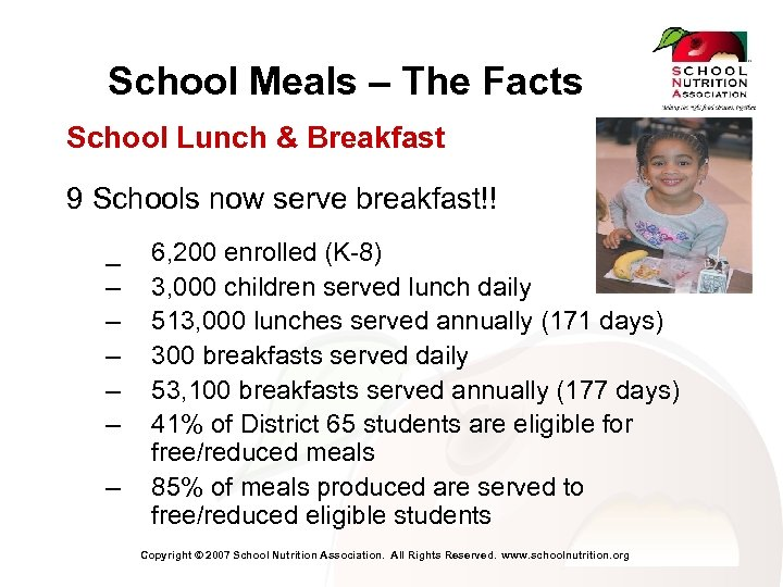 School Meals – The Facts School Lunch & Breakfast 9 Schools now serve breakfast!!
