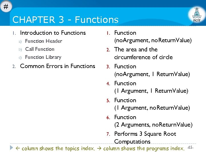 # CHAPTER 3 - Functions 1. Introduction to Functions a) b) c) 2. Function