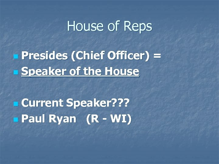 House of Reps Presides (Chief Officer) = n Speaker of the House n Current