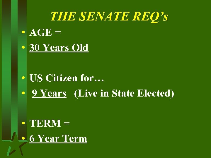 THE SENATE REQ's • AGE = • 30 Years Old • US Citizen for…