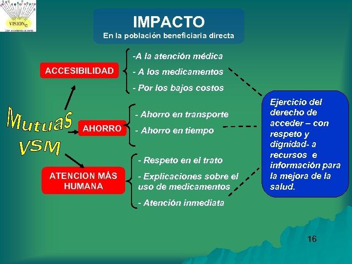 IMPACTO En la población beneficiaria directa -A la atención médica ACCESIBILIDAD - A los