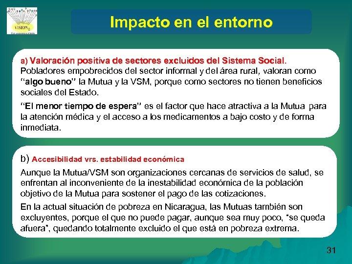 Impacto en el entorno a) Valoración positiva de sectores excluidos del Sistema Social. Pobladores