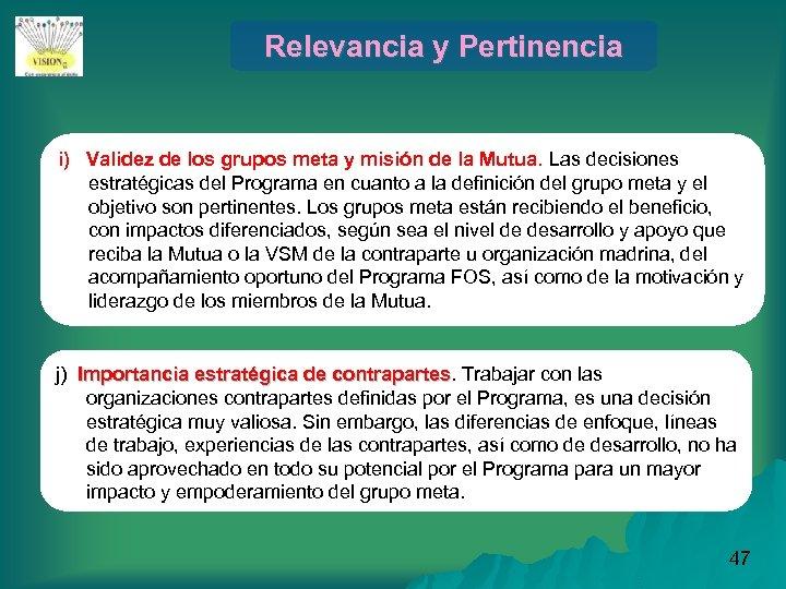 Relevancia y Pertinencia i) Validez de los grupos meta y misión de la Mutua.