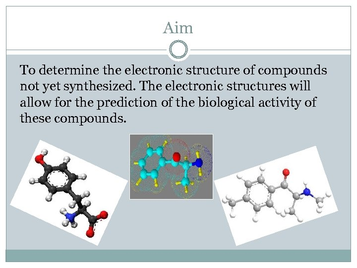 Aim To determine the electronic structure of compounds not yet synthesized. The electronic structures