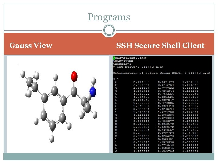 Programs Gauss View SSH Secure Shell Client