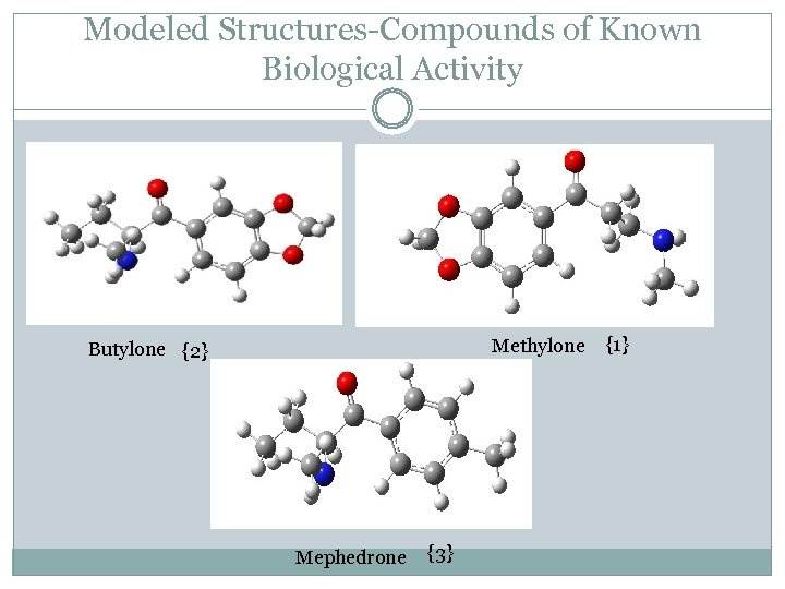 Modeled Structures-Compounds of Known Biological Activity Methylone Butylone {2} Mephedrone {3} {1}