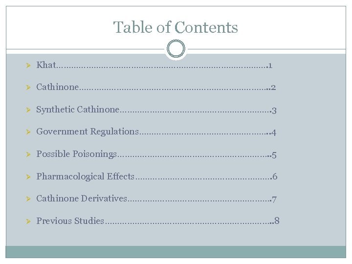 Table of Contents Ø Khat……………………………………. 1 Ø Cathinone…………………………………. . 2 Ø Synthetic Cathinone…………………………. 3