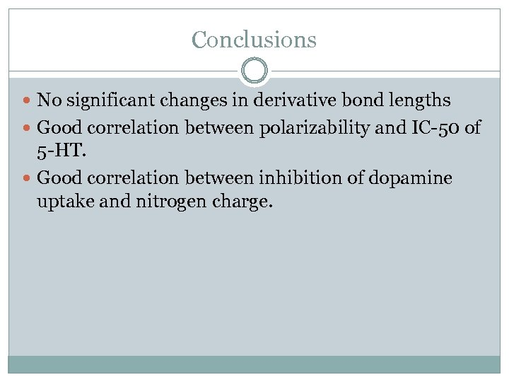 Conclusions No significant changes in derivative bond lengths Good correlation between polarizability and IC-50