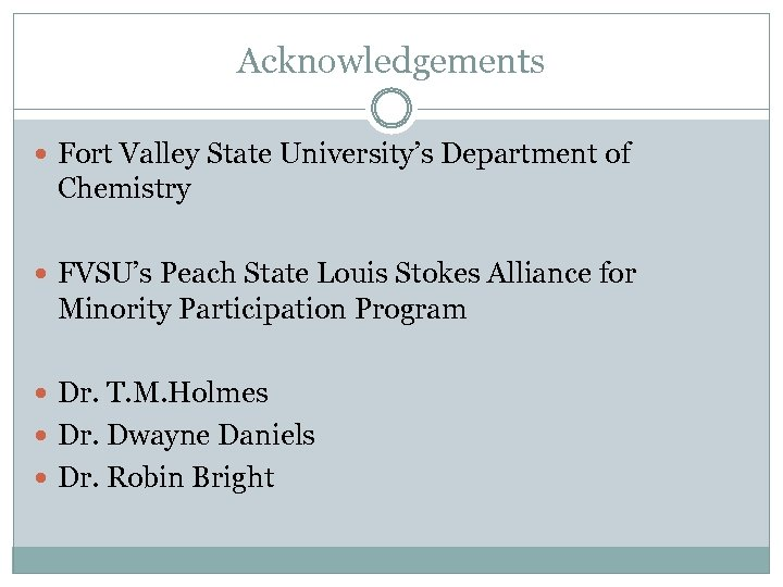 Acknowledgements Fort Valley State University's Department of Chemistry FVSU's Peach State Louis Stokes Alliance