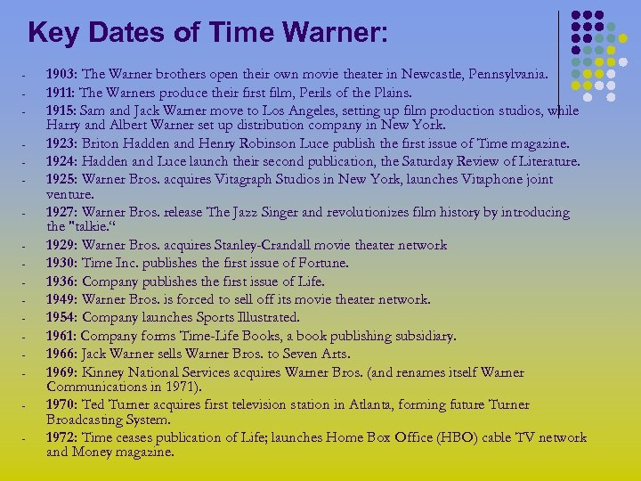 Key Dates of Time Warner: - 1903: The Warner brothers open their own movie