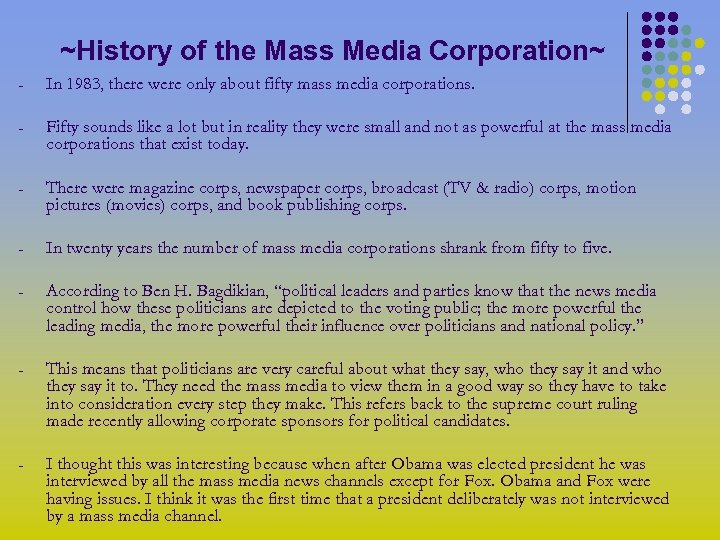 ~History of the Mass Media Corporation~ - In 1983, there were only about fifty