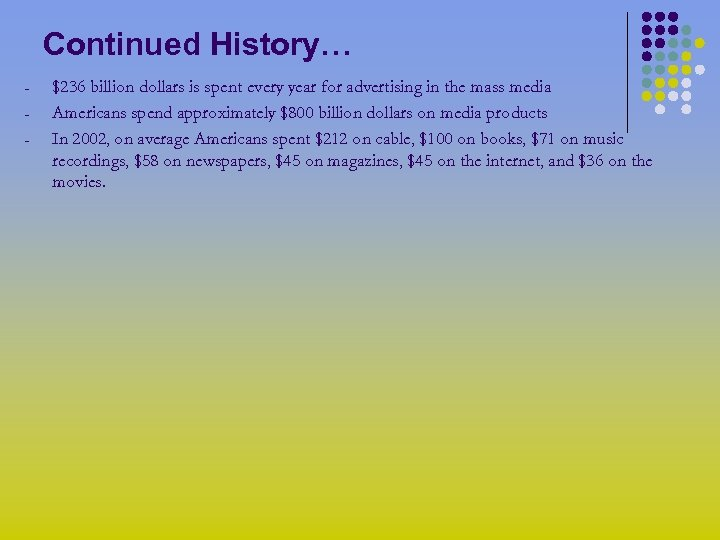Continued History… - $236 billion dollars is spent every year for advertising in the