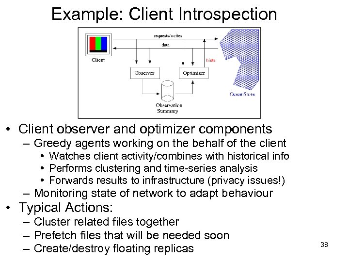 Example: Client Introspection • Client observer and optimizer components – Greedy agents working on