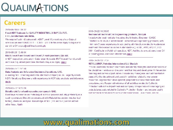 S Careers www. qualimations. com