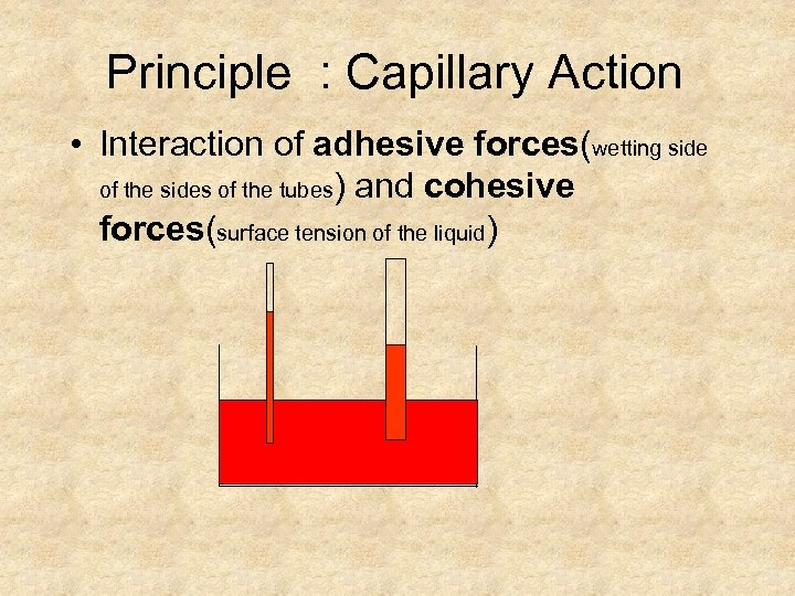 Principle : Capillary Action • Interaction of adhesive forces(wetting side of the sides of