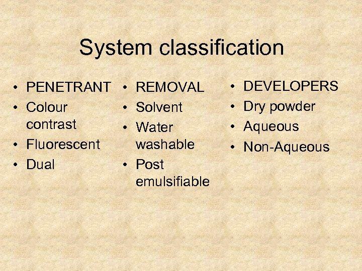 System classification • PENETRANT • • Colour • contrast • • Fluorescent • Dual