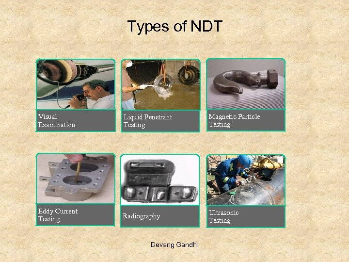 Types of NDT Visual Examination Liquid Penetrant Testing Magnetic Particle Testing Eddy Current Testing