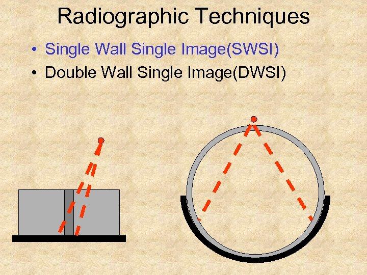 Radiographic Techniques • Single Wall Single Image(SWSI) • Double Wall Single Image(DWSI)