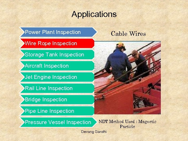 Applications Power Plant Inspection Cable Wires Wire Rope Inspection Storage Tank Inspection Aircraft Inspection