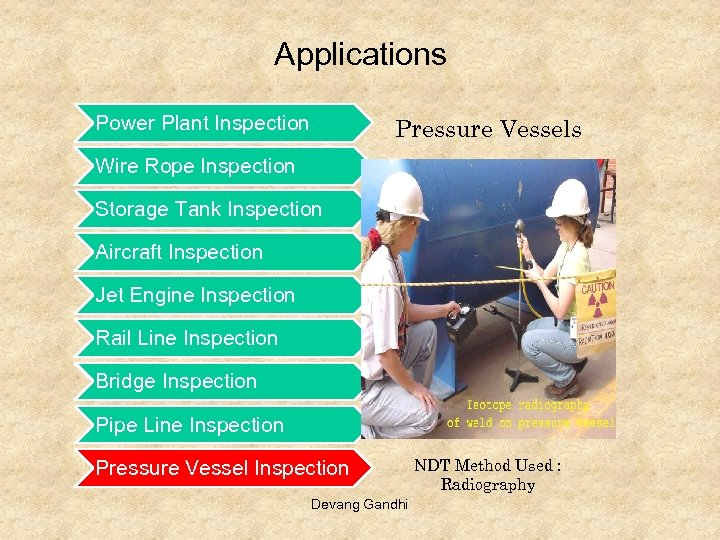 Applications Power Plant Inspection Pressure Vessels Wire Rope Inspection Storage Tank Inspection Aircraft Inspection