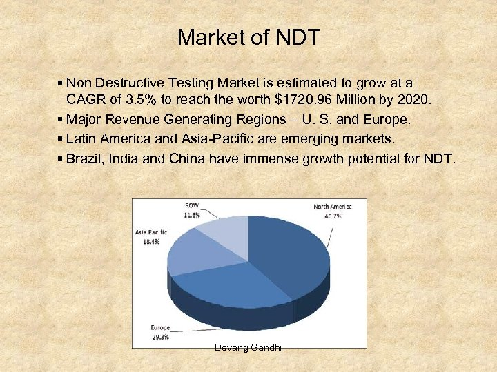 Market of NDT § Non Destructive Testing Market is estimated to grow at a