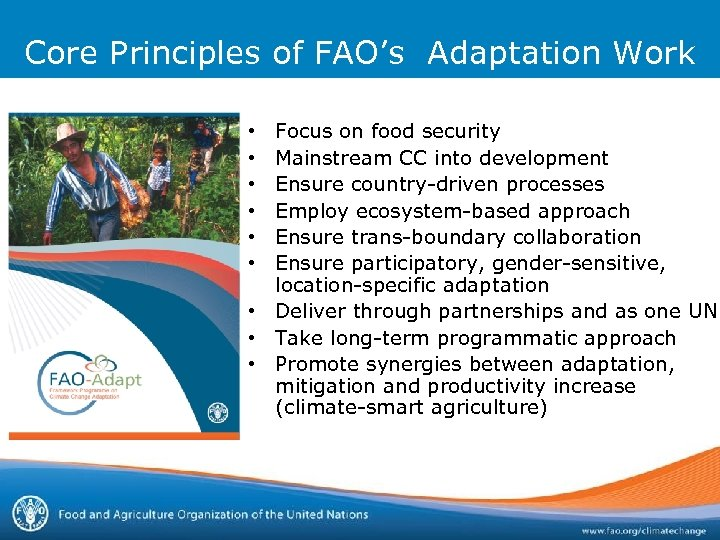 Core Principles of FAO's Adaptation Work Focus on food security Mainstream CC into development