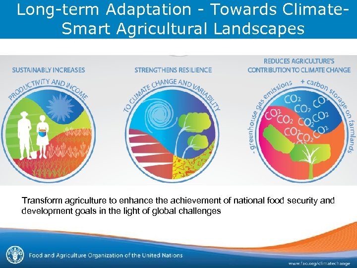 Long-term Adaptation - Towards Climate. Smart Agricultural Landscapes Transform agriculture to enhance the achievement